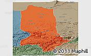 Political Panoramic Map of Jowzjan, semi-desaturated