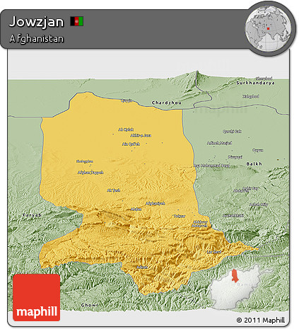 Savanna Style Panoramic Map of Jowzjan