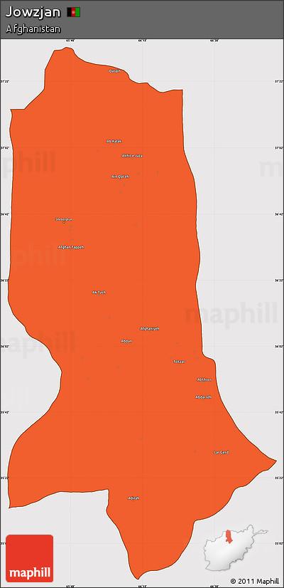 Political Simple Map of Jowzjan, cropped outside