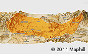 Political Panoramic Map of Kabul, satellite outside