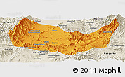 Political Panoramic Map of Kabul, shaded relief outside