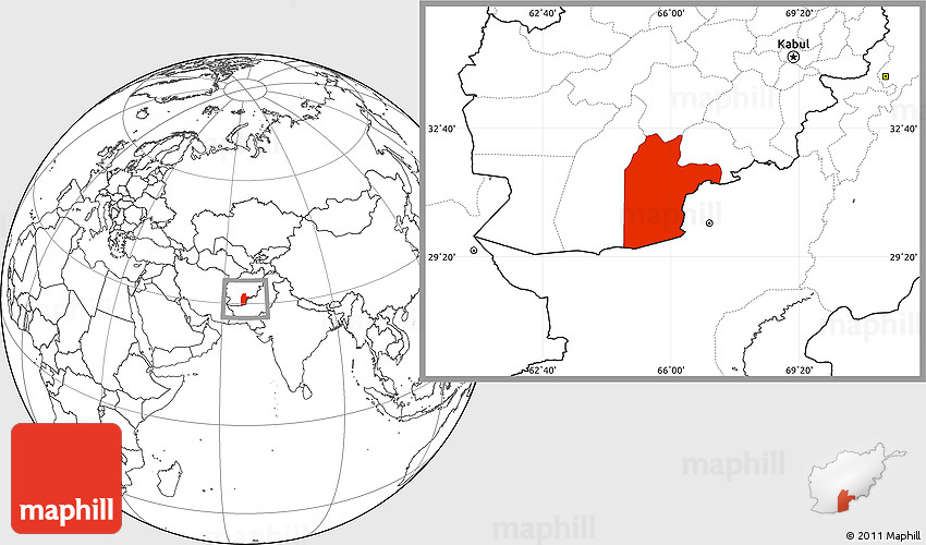 Blank Location Map of Kandahar
