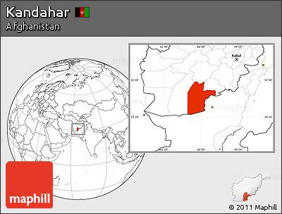 Blank Location Map of Kandahar