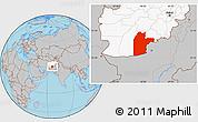 Gray Location Map of Kandahar, highlighted country
