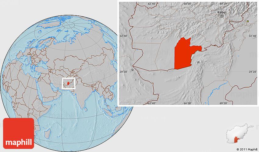 Gray Location Map of Kandahar hill shading