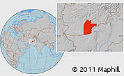 Gray Location Map of Kandahar, hill shading