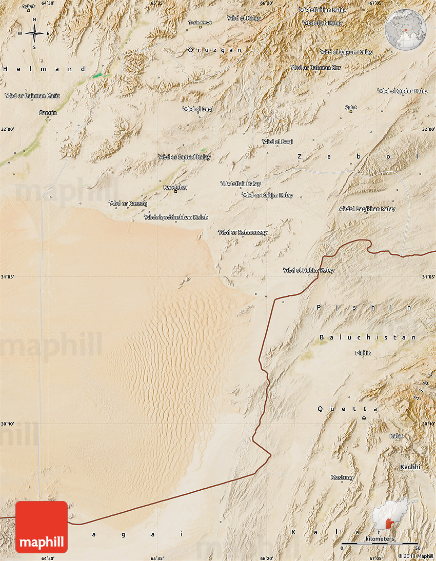 Satellite Map of Kandahar
