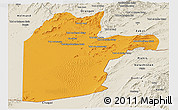 Political Panoramic Map of Kandahar, shaded relief outside
