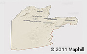 Shaded Relief Panoramic Map of Kandahar, cropped outside