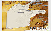 Shaded Relief Panoramic Map of Kandahar, physical outside