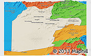 Shaded Relief Panoramic Map of Kandahar, political outside