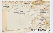Shaded Relief Panoramic Map of Kandahar, satellite outside