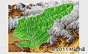 Political Panoramic Map of Kapisa, physical outside