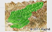 Political Panoramic Map of Kapisa, satellite outside