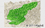 Political Panoramic Map of Kapisa, shaded relief outside