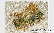 Satellite Panoramic Map of Konar, shaded relief outside