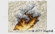Physical Panoramic Map of Laghman, shaded relief outside