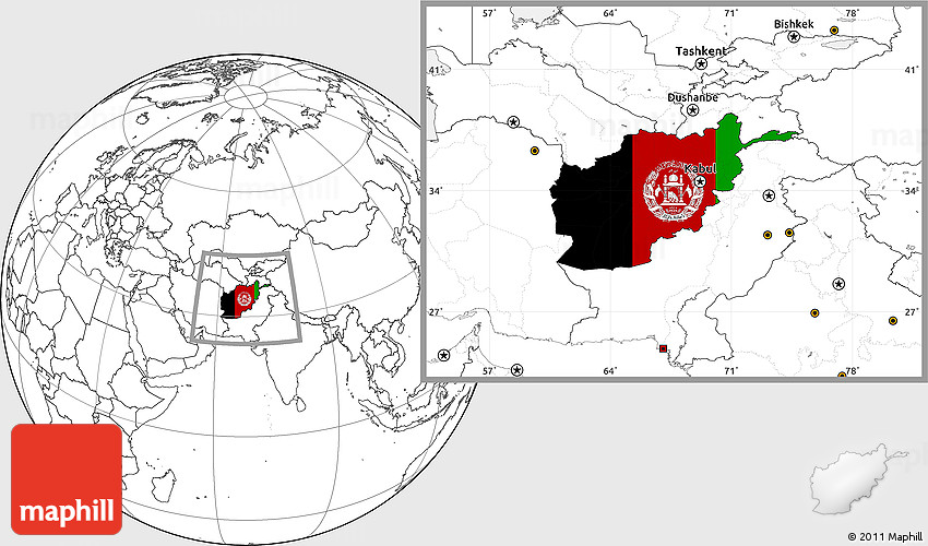 Flag Location Map of Afghanistan, blank outside