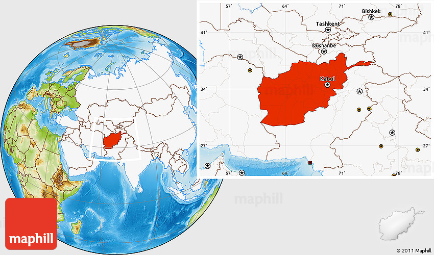 Physical Location Map Of Afghanistan Highlighted Continent
