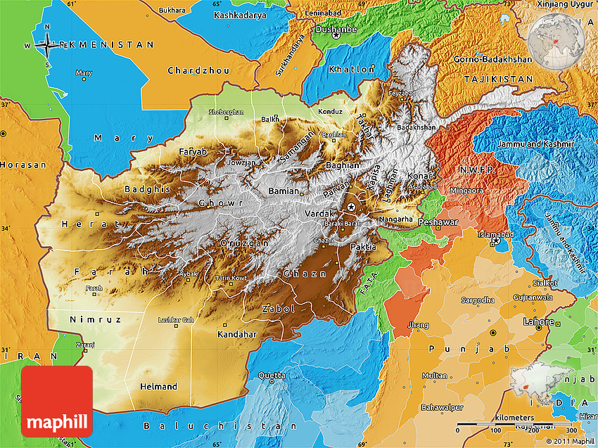 Physical Map of Afghanistan political outside shaded relief sea