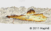 Physical Panoramic Map of Nangarha, shaded relief outside