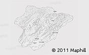 Silver Style 3D Map of Oruzgan, single color outside