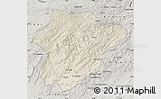 Shaded Relief Map of Oruzgan, semi-desaturated