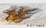 Physical Panoramic Map of Oruzgan, lighten