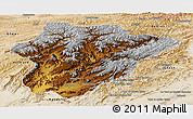 Physical Panoramic Map of Oruzgan, satellite outside