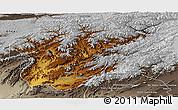 Physical Panoramic Map of Oruzgan, semi-desaturated