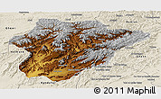 Physical Panoramic Map of Oruzgan, shaded relief outside