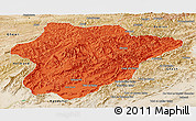 Political Panoramic Map of Oruzgan, satellite outside