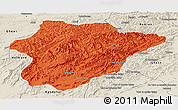 Political Panoramic Map of Oruzgan, shaded relief outside