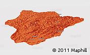 Political Panoramic Map of Oruzgan, single color outside