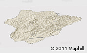 Shaded Relief Panoramic Map of Oruzgan, cropped outside