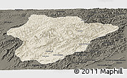 Shaded Relief Panoramic Map of Oruzgan, darken
