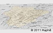 Shaded Relief Panoramic Map of Oruzgan, desaturated
