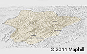 Shaded Relief Panoramic Map of Oruzgan, lighten, desaturated