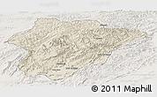 Shaded Relief Panoramic Map of Oruzgan, lighten