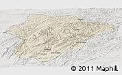 Shaded Relief Panoramic Map of Oruzgan, lighten, semi-desaturated