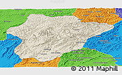 Shaded Relief Panoramic Map of Oruzgan, political outside