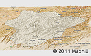 Shaded Relief Panoramic Map of Oruzgan, satellite outside
