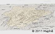 Shaded Relief Panoramic Map of Oruzgan, semi-desaturated