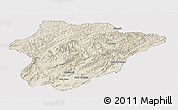 Shaded Relief Panoramic Map of Oruzgan, single color outside