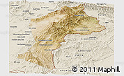 Satellite Panoramic Map of Paktia, shaded relief outside