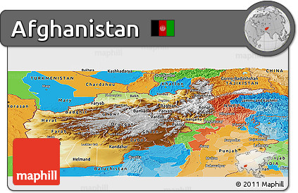 Free Physical Panoramic Map of Afghanistan political outside