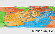 Political Shades Panoramic Map of Afghanistan