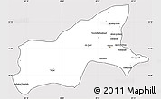 Silver Style Simple Map of Parvan, cropped outside