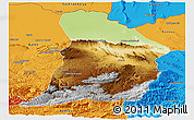 Physical Panoramic Map of Samangan, political outside