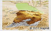 Physical Panoramic Map of Samangan, satellite outside